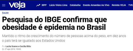 Pesquisa do IBGE confirma que obesidade é epidemia no Brasil