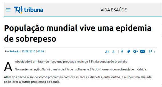 População mundial vive epidemia de sobrepeso