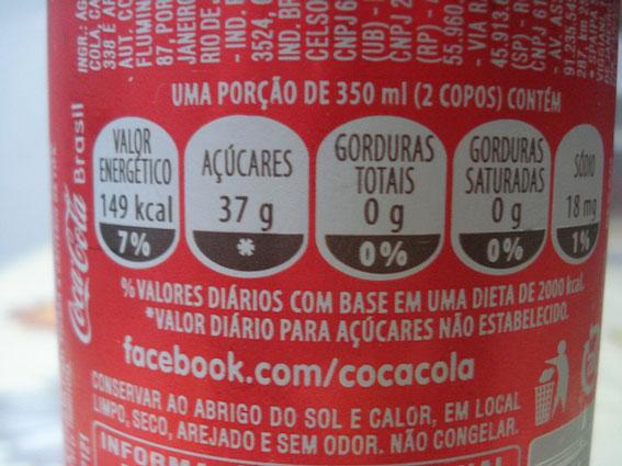 Tabela nutricional coca-cola