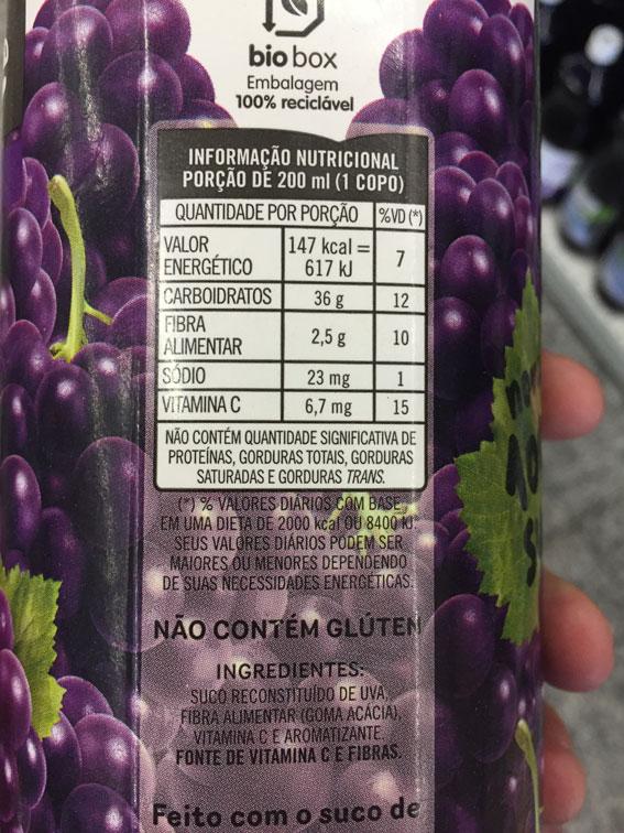 Tabela nutricional suco de uva
